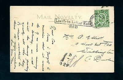 'Liable to Letter Rate  029'  Seaton Carew Postage Due on Postcard 1912  (O1439)
