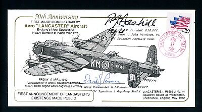 1992  RAF Cover  posted USA  Signed  Lancaster Commemoration    (O1437)