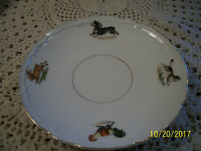 1900's Porcelain Childs Saucer Made in Germany Dog Rabbit Cat Rooster