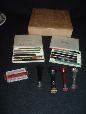 Vintage Letter Sealing Wax 4 Stamps Dennison Wax Sterling Art Nouveau In Box