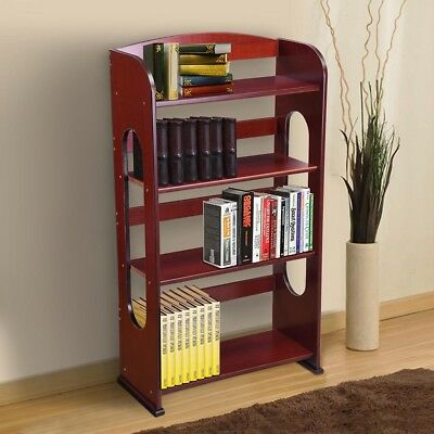 4 Shelf Wood Bookshelf Bookcase Hollow Out Storage Organizer Shelving Furniture