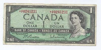 Bank of Canada 1954 Asterisk * $1 Bank Note