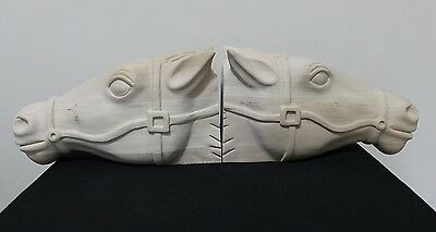 Solid Unfinished Wood Carved Set of 2 Horse Heads Bookends, Mantel, Decor ~ New