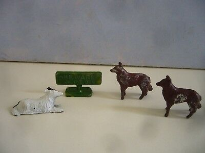 Vintage Lead Crescent Sign & Dogs From Our Doggies & Grandad & Grandma Sets