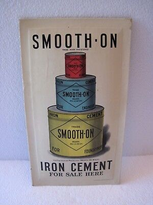 Antique 1904 Smooth On Iron Cement Crystaloid Advertising Sign Newark NJ USA