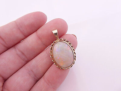 9ct/ 9k gold very large solid fiery Opal vintage pendant, 375