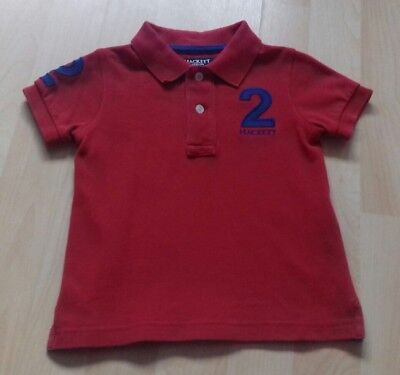Authentic Hackett Baby Boys Red Polo Shirt Top With Navy Detail 18 mths Designer
