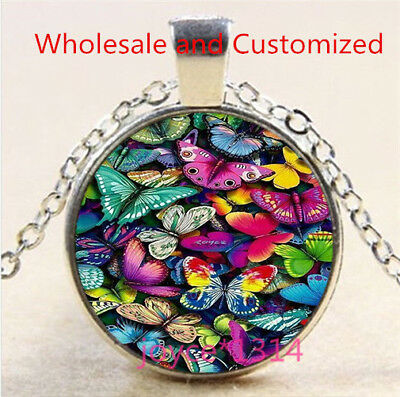 Butterfly Cabochon Silver/Bronze/Black/Gold Glass Chain Pendant Necklace #5222