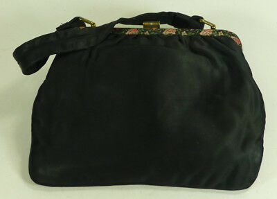 Vintage 'Bagcraft' by Royal Appointment Black Satin Handbag