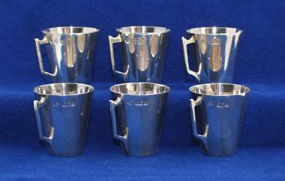 ANTIQUE WAKELY & WHEELER IRISH STERLING LOT of 6 CORDIAL CUPS w/DISPLAY BOX