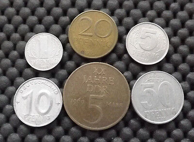 Authentic 6 Coins Of East Germany 1952 - 1971 ** Ddr