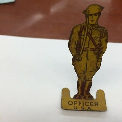 Cracker Jack 1930's Tin U.S.A. Military Officer Stand Up Premium Prize Toy