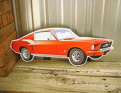 "Ford Mustang Shelby Fastback 22"" Large Embossed Metal Tin Sign Vintage Garage"