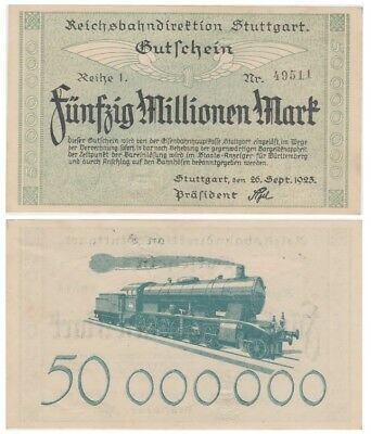 5o Millions Marks German banknote issued by ReichsBahnDirektion Stuttgart aunc