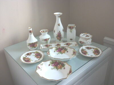 Ten Pieces Of Royal Albert Old Country Roses Vases Etc