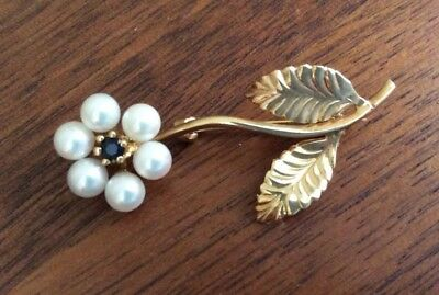 Vintage 14K Yellow Gold Signed Daisy Flower Seed Pearls Sapphire BROOCH PIN