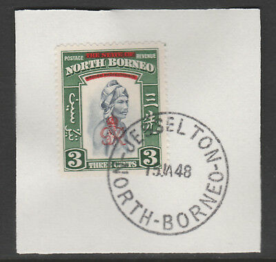 North Borneo 6010 - 1947 KG6 CROWN COLONY 3c with MADAME JOSEPH FORGED POSTMARK