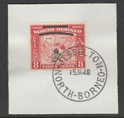 North Borneo 6013 - 1947 KG6 CROWN COLONY 8c with MADAME JOSEPH FORGED POSTMARK