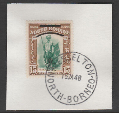 North Borneo 6016 - 1947 KG6 CROWN COLONY 15c with MADAME JOSEPH FORGED POSTMARK