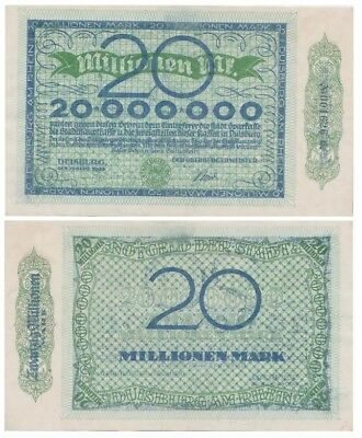 2o Millions Marks German Kreisnotgeld issued in 1923 by Duisburg stadt xf