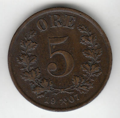 Norway 5 Ore 1907 Copper         252A       By Coinmountain