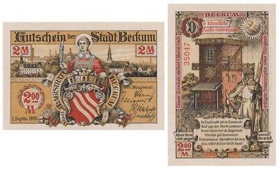 Two Marks German Notgeld issued in 1920 by Beckum stadt aunc
