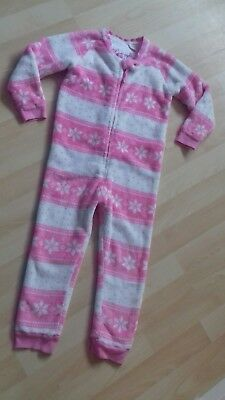 FAB M&S Pink & White Fluffy Winter Snowflake Design All In One Pyjamas 4-5 yrs