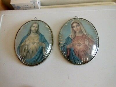 Lourdes 2 Matching Religious Oval  Pictures Christ Jesus & Mary-Silver Metal