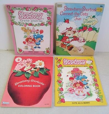LOT OF 4 UNUSED STRAWBERRY SHORTCAKE COLORING AND ACTIVITY BOOKS 1980's & 1990's