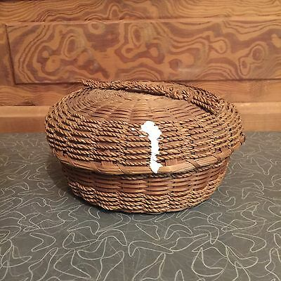Vintage Round Wicker Sewing Basket with Lid