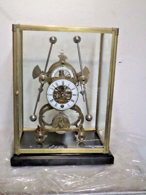 Terrific Mechanical Movement Harrison Grasshopper Clock With Glass Dome