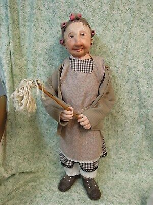 """DIANNE DENGEL doll - """"CLEANING DAY""""; handcrafted by Dianne; 27""""; den-114"""