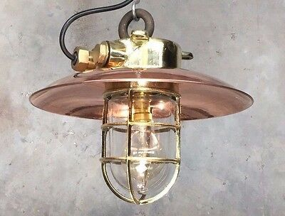 Vintage Industrial light - Cast Brass Explosion Proof Pendant Copper Shade