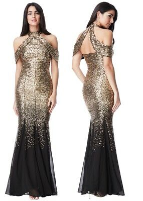 f8fff2076391 Goddiva Black Gold Sequin Chiffon Inserts Maxi Dress Prom Party Bridesmaid  Ball