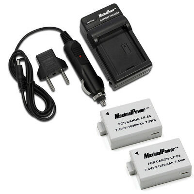 Refuelergy 2x BATTERIES + CHARGER Pack for CANON LP-E5 EOS 450D EOS 500D