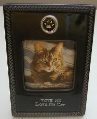 Love Me Love My Cat Picture Frame Dark Brown Ceramic Photo Holder Wall Desk