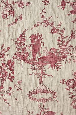 18th century toile printed old linen French c1780 quilt cupid pomegranate pink