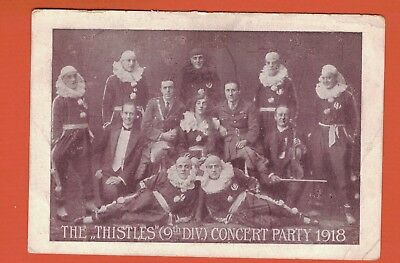 1918 WW1 Postcard The Thistles Concert Party, (9th Div)