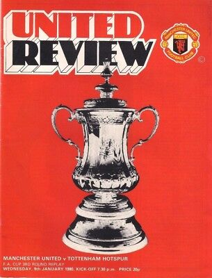 Manchester United V Tottenham Hotspur~Fac Rd 3~Rep~1980~Matchday Programme~Vgc~