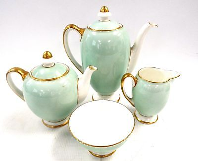 4 x Pieces Of Vintage ROYAL DOULTON Green & Gold Tone TABLEWARE - P04