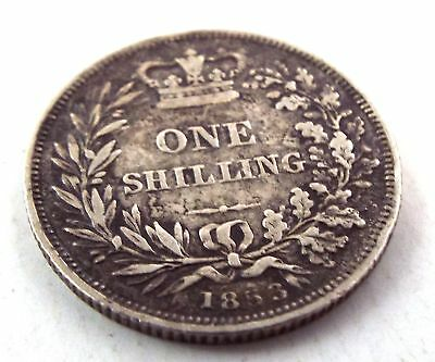 Antique Silver Queen Victoria Victorian Era ONE SHILLING Coin Dated 1853 - S16