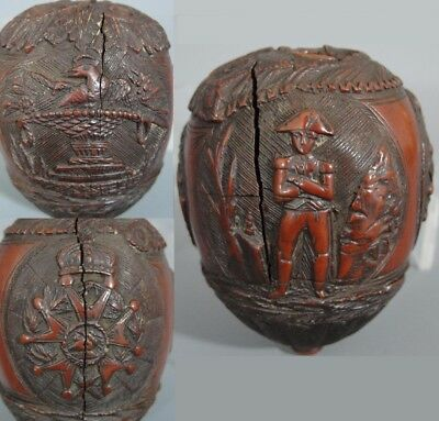 Antique Early 19thC Hand Carved Folk Art Miniature Coconut Legion of Honor Medal