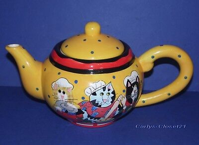 CATZILLA TEAPOT By Candace Reiter * Large 2002 Ceramic Tea Pot * Collectable *