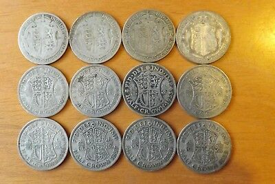 12 x British Silver Halfcrown Coins 1920-1939 VF Grade All Different Dates.