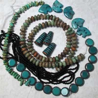 Olive Green/brown Opal, Kiwi Jasper Bear Totems and Czech turquoise Necklace kit