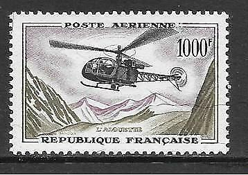 FRANCE - 1958.  AIR - 1000f. Helicopter, MNH.   Cat £100