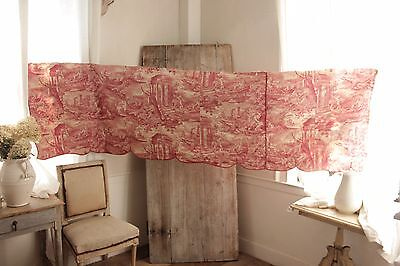 """Antique French toile """"Love and Friendship"""" valance red fabric bed hanging 1820"""