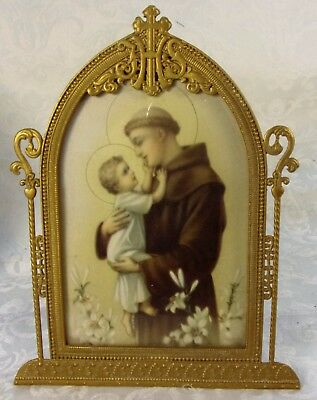 Antique Art Deco Brass Framed IHS Religious Saint Christopher  Lithograph Print