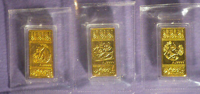 China. Three Gold Plated Bars.