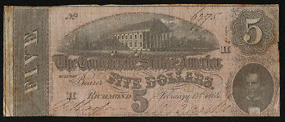 CONFEDERATE STATES OF AMERICA (P67) 5 Dollars 1864 aF/VG+